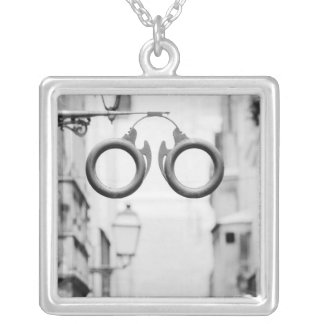 Europe, Spain, Mallorca. Eyeglass shop sign, Silver Plated Necklace