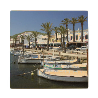 Europe, Spain, Minorca (aka Menorca). Fishing Wood Coaster