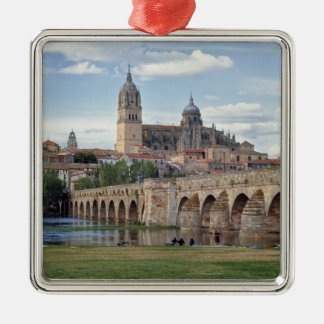 Europe, Spain, Salamanca. The Roman bridge over Christmas Ornament