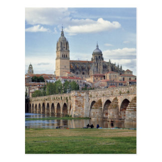 Europe, Spain, Salamanca. The Roman bridge over Postcard