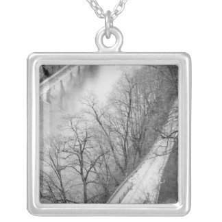 Europe, Switzerland, Bern. Overview of the Aare Silver Plated Necklace