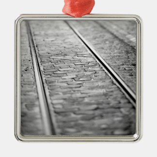 Europe, Switzerland, Bern. Tram tracks, 2 Christmas Ornament