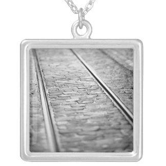 Europe, Switzerland, Bern. Tram tracks, 2 Silver Plated Necklace