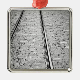 Europe, Switzerland, Bern. Tram tracks, Christmas Ornament