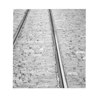 Europe, Switzerland, Bern. Tram tracks, Notepad