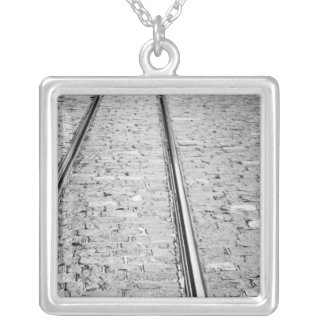 Europe, Switzerland, Bern. Tram tracks, Silver Plated Necklace