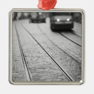 Europe, Switzerland, Berne. Tram tracks, Christmas Ornament