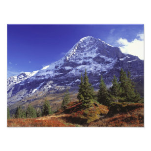 Europe, Switzerland, Eiger. Fall colours abound Photo Print