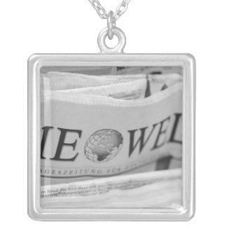 Europe, Switzerland, Lucerne. Die Welt The World Silver Plated Necklace