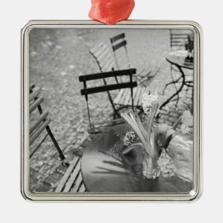 Europe, Switzerland, Lucerne. Outdoor cafe table Christmas Ornament