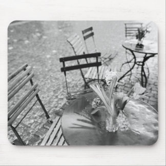 Europe, Switzerland, Lucerne. Outdoor cafe table Mouse Mat