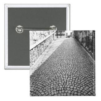 Europe, Switzerland, Zurich. Cobbled street, 15 Cm Square Badge