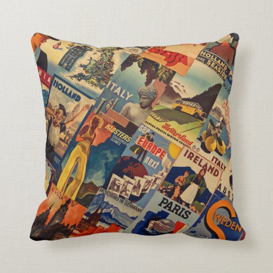 Europe Vintage Travel posters collage Throw Pillow