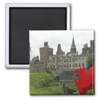 Europe, Wales, Cardiff. Cardiff Castle. Welsh 2 Square Magnet