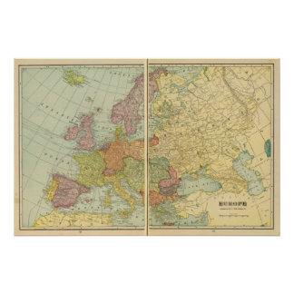 Europe with telegraph lines poster