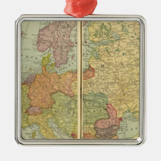Europe with telegraph lines Silver-Colored square decoration