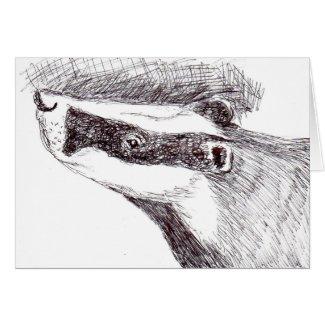 European Badger blank art card