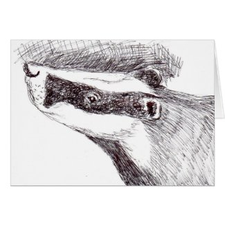 European Badger (a454) Card title=