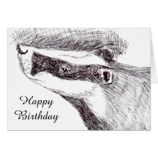 European Badger (a456) Card