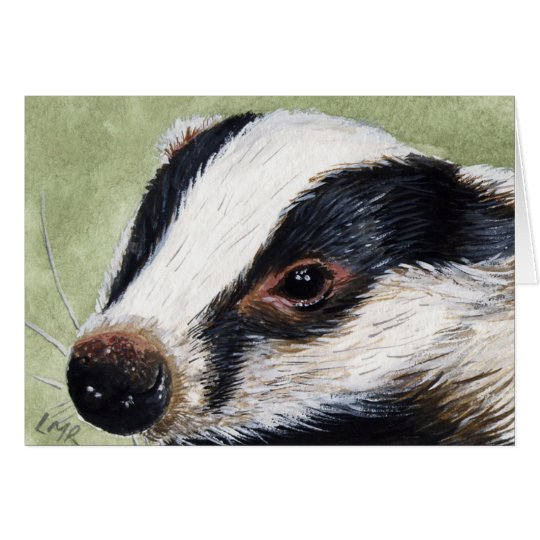 European Badger Cub Painting Note Card