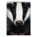 European Badger Portrait Painting Note Card