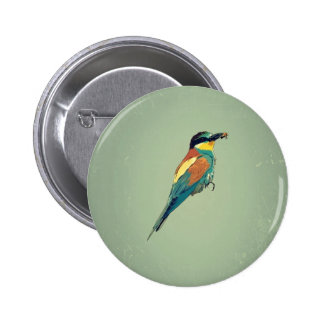 European Bee-Eater Vintage Retro Style Mint Green 6 Cm Round Badge
