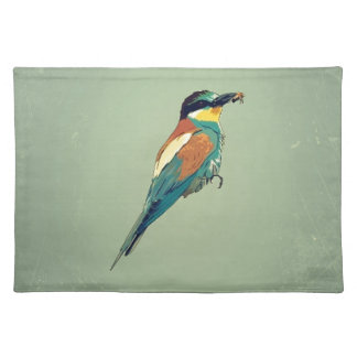European Bee-Eater Vintage Retro Style Mint Green Placemats