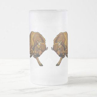 european bison frosted glass beer mug