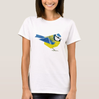 European BlueTit Collage Bird Art T-Shirt