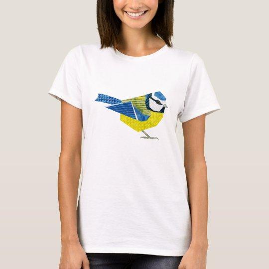 European BlueTit Collage Bird Art T-Shirt