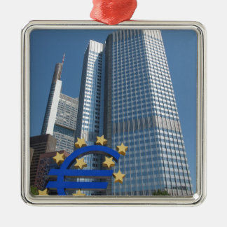 European Central Bank in Frankfurt am Main Silver-Colored Square Decoration