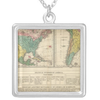 European Discovery of America Atlas Map Silver Plated Necklace