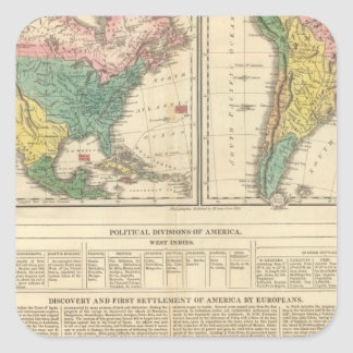 European Discovery of America Atlas Map Square Sticker