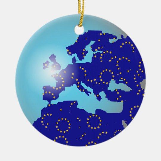 European Flag Globe Christmas Ornament