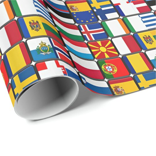 European Flags Patchwork Wrapping Paper