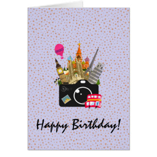 European Landmarks with a Camera Happy Birthday Card