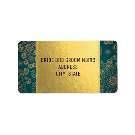 European Retro Teal & Gold Address Label