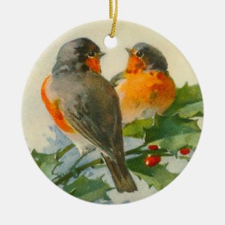 European Robin & Holly Christmas Ornament