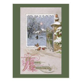 European Robins at Gate to Village Postcard