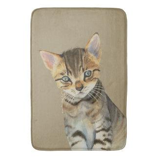 European Shorthair Kitten Watercolor Painting Bath Mat