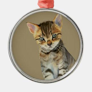 European Shorthair Kitten Watercolor Painting Christmas Ornament