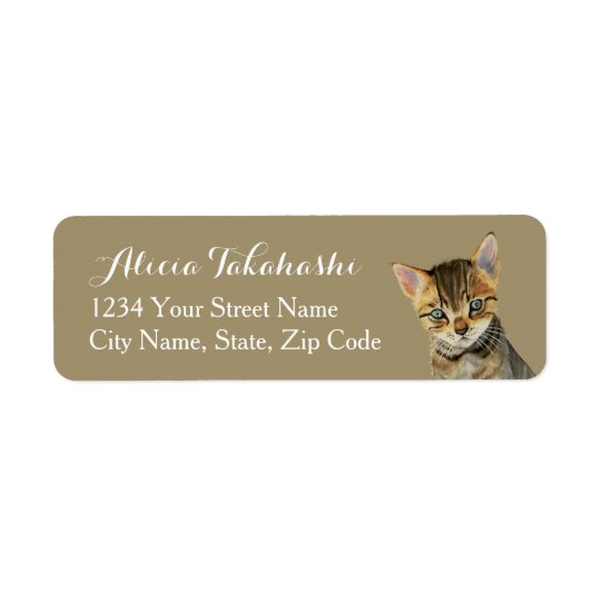 European Shorthair Kitten Watercolor Painting Return Address Label