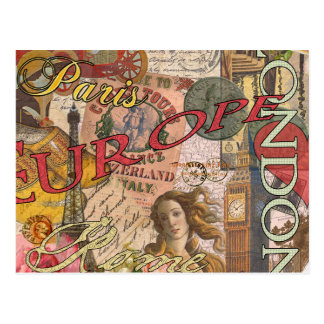 European Travel Vintage London Rome Paris Postcard