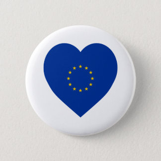 European Union Flag Heart 6 Cm Round Badge