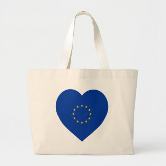 European Union Flag Heart Large Tote Bag