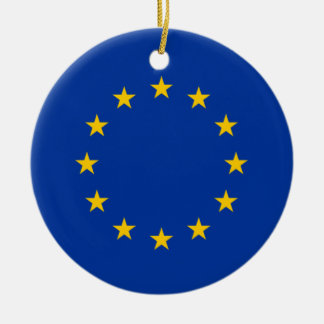 European Union Flag Heart Round Ceramic Decoration