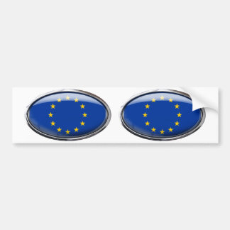 European Union Flag in Glass Oval Bumper Sticker