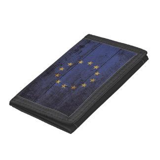 European Union Flag on Old Wood Grain Tri-fold Wallet