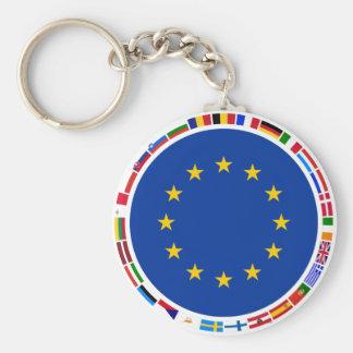 European Union Flags Basic Round Button Key Ring
