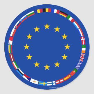 European Union Flags Classic Round Sticker